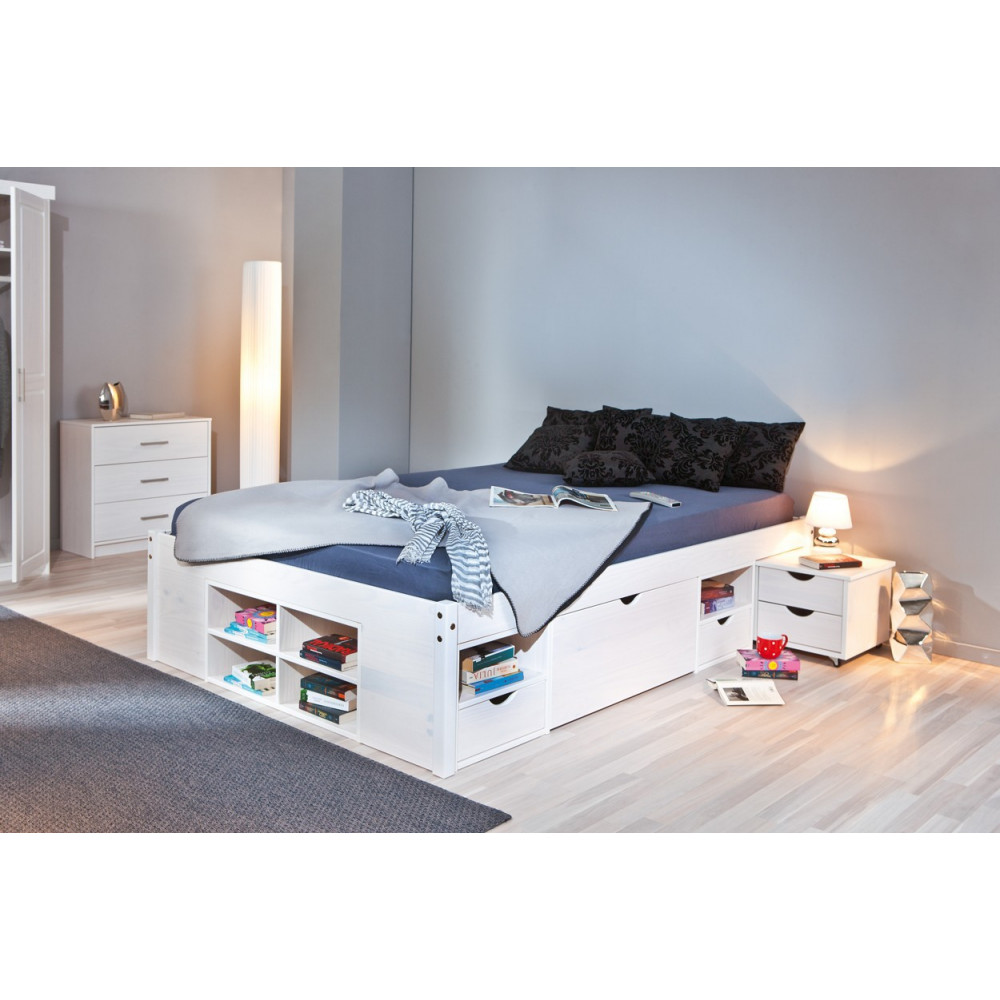 Lit meuble till 160x200 pin massif blanc for Lit meuble
