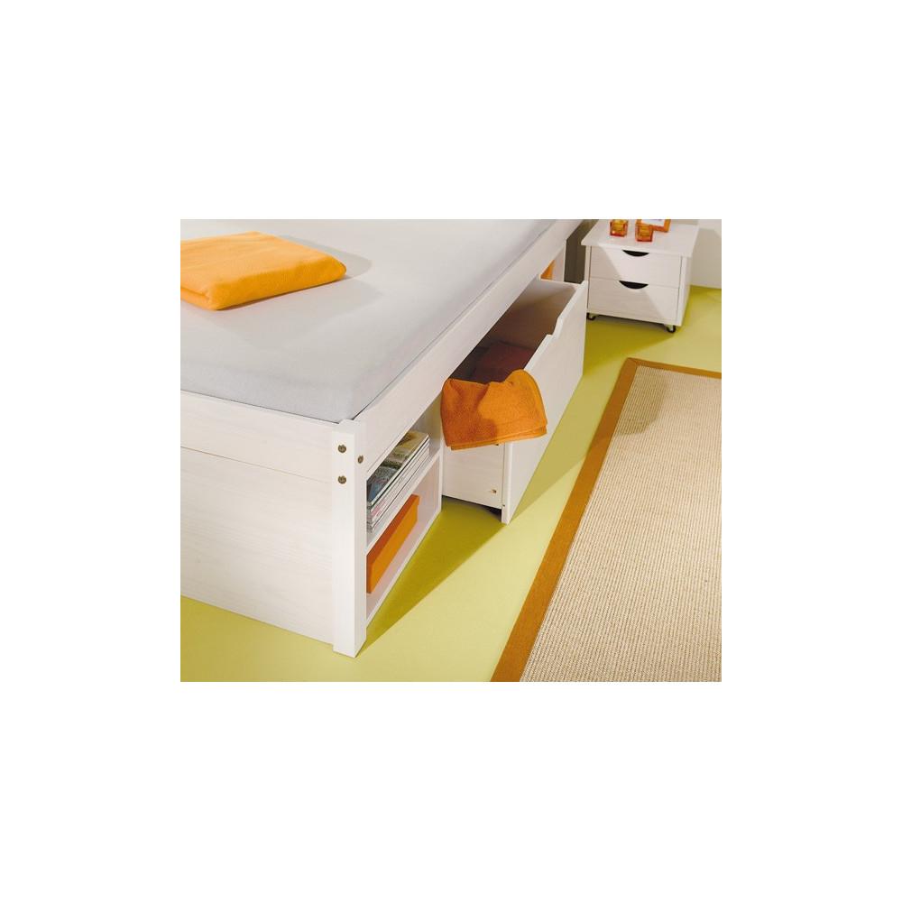 Lit meuble till 160x200 pin massif blanc - Lit 160x200 blanc ...