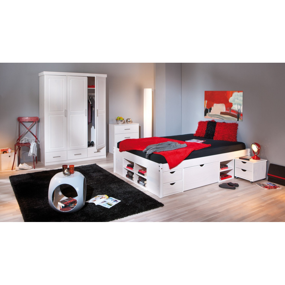 lit meuble till 160x200 pin massif blanc. Black Bedroom Furniture Sets. Home Design Ideas