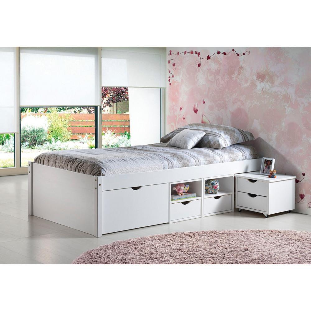 Lit meuble till 90x200 pin massif blanc - Chambre avec meuble blanc ...