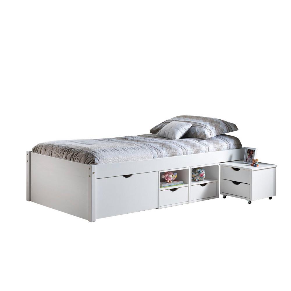 lit meuble till 90x200 pin massif blanc. Black Bedroom Furniture Sets. Home Design Ideas