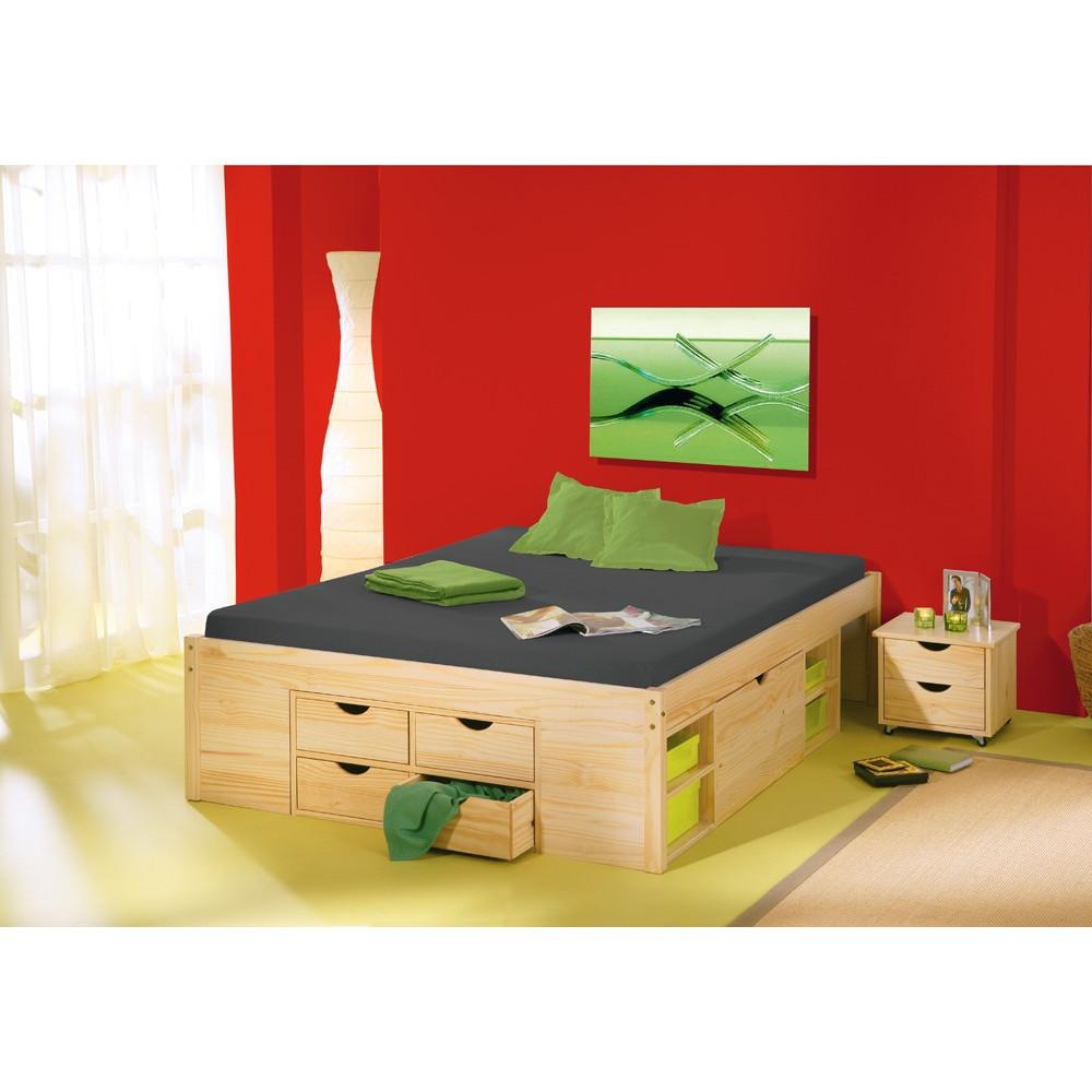 Lit meuble class 140x190 pin massif naturel for Meubles en pin naturel