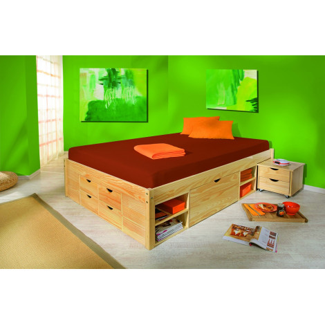lit meuble claas 160x200 pin massif naturel. Black Bedroom Furniture Sets. Home Design Ideas