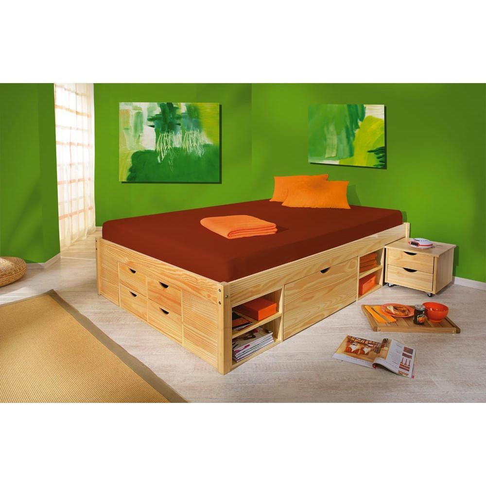 lit meuble claas 180x200 pin massif naturel. Black Bedroom Furniture Sets. Home Design Ideas