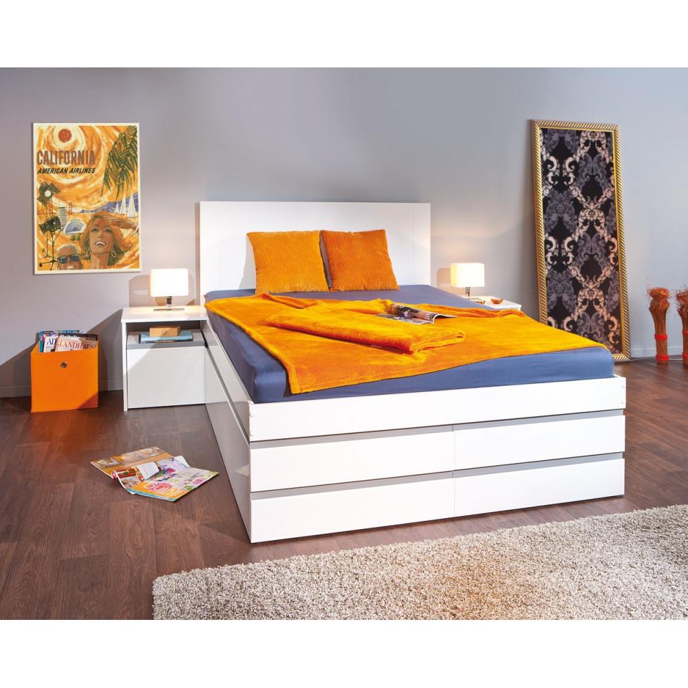 Lit meuble conforto 140x200 pin massif gris et blanc for Meubles gris et blanc