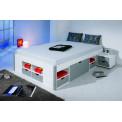 Lit meuble MIKAR 180x200 Pin massif Blanc et gris