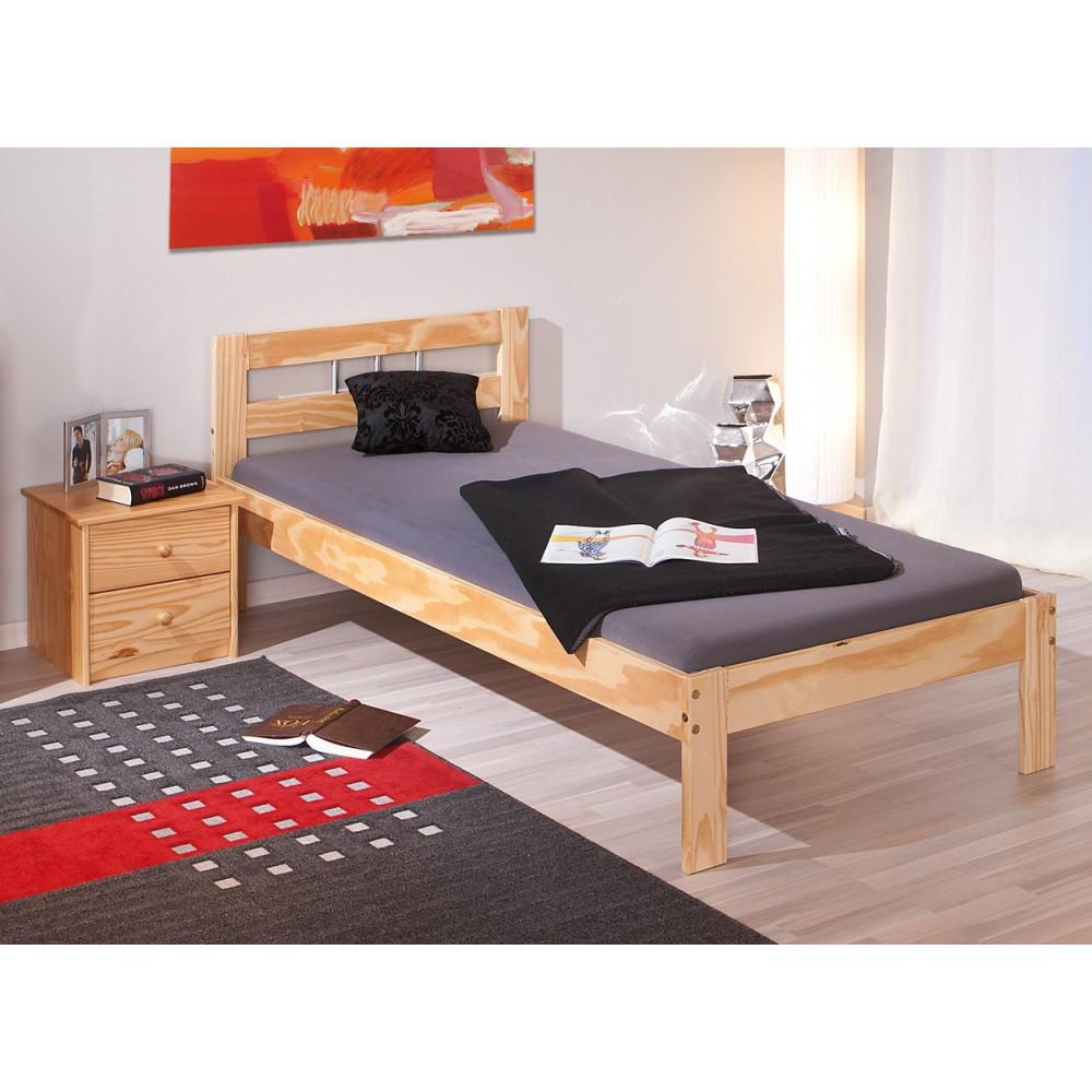 lit jana 90x200 pin massif naturel. Black Bedroom Furniture Sets. Home Design Ideas