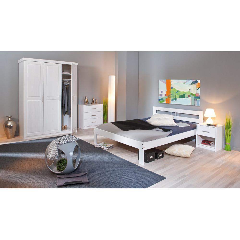 lit fana 90x200 pin massif blanc. Black Bedroom Furniture Sets. Home Design Ideas