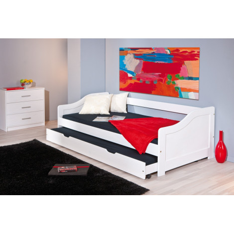 lit leonie 90x200 pin massif blanc. Black Bedroom Furniture Sets. Home Design Ideas