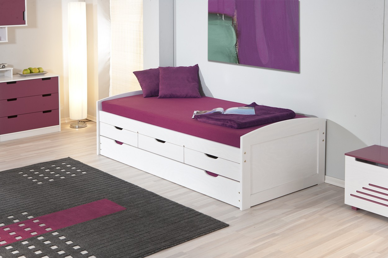 lit ulli 90x190 pin massif blanc. Black Bedroom Furniture Sets. Home Design Ideas