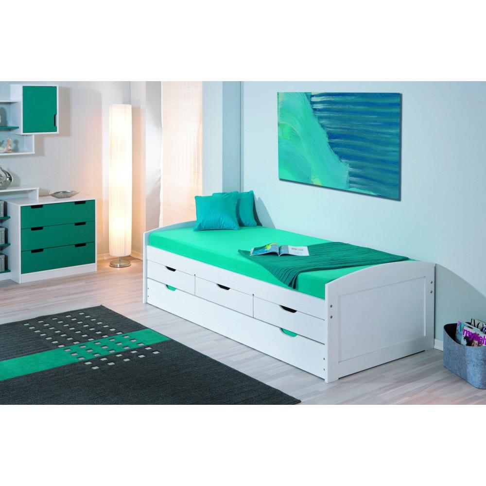 lit ulli 90x190 pin massif blanc. Black Bedroom Furniture Sets. Home Design Ideas