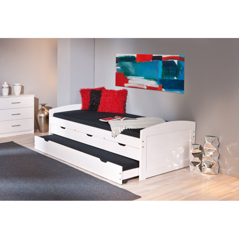 Lit ulli 90x190 pin massif blanc for Lit meuble