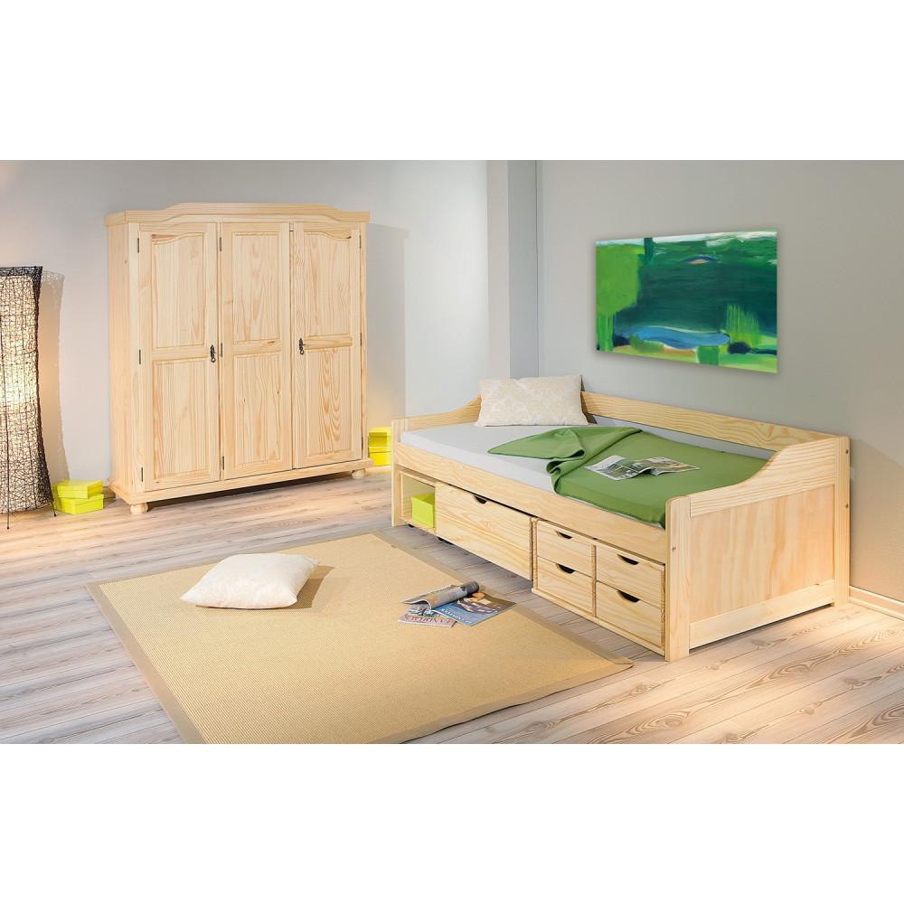 lit maxima 90x200 pin massif naturel. Black Bedroom Furniture Sets. Home Design Ideas