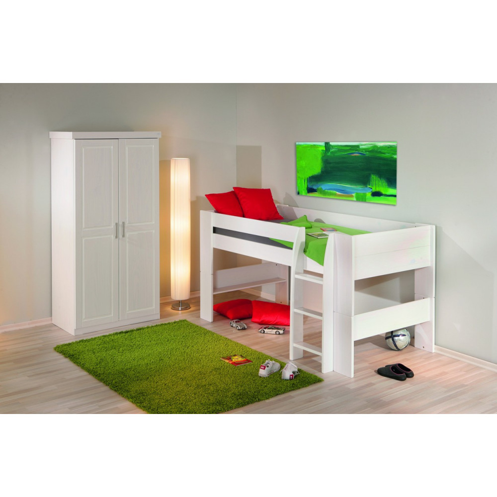lits superposes dream well 90x200 pin massif blanc. Black Bedroom Furniture Sets. Home Design Ideas