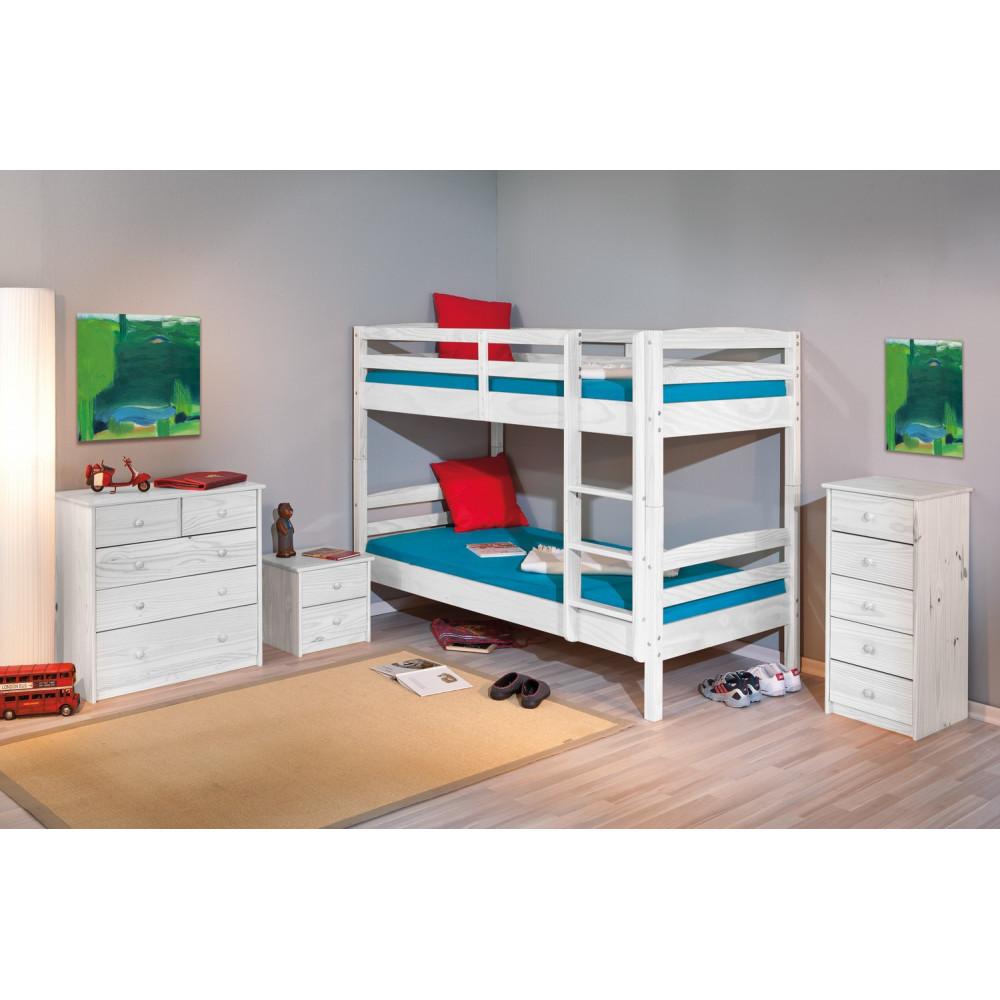 lits superposes rick 90x200 pin massif blanc. Black Bedroom Furniture Sets. Home Design Ideas