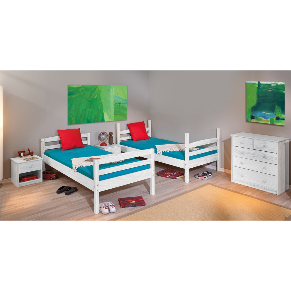 lits superposes rick 90x200 pin massif blanc. Black Bedroom Furniture Sets. Home Design Ideas