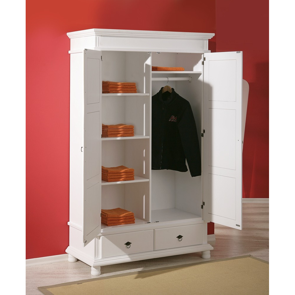 armoire danz blanche 2 portes battantes. Black Bedroom Furniture Sets. Home Design Ideas