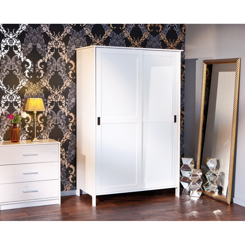 armoire mafra blanche 2 portes coulissantes. Black Bedroom Furniture Sets. Home Design Ideas