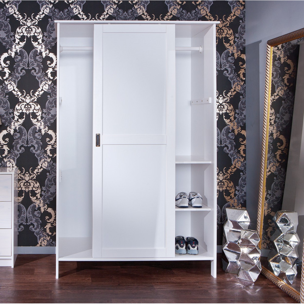 Armoire mafra blanche 2 portes coulissantes - Armoire blanche 2 portes ...