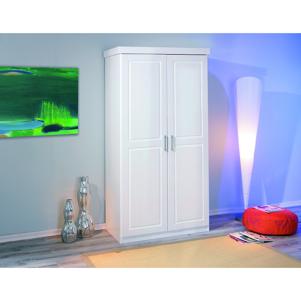 Armoire hakon blanche 2 portes battantes - Armoire blanche portes ...