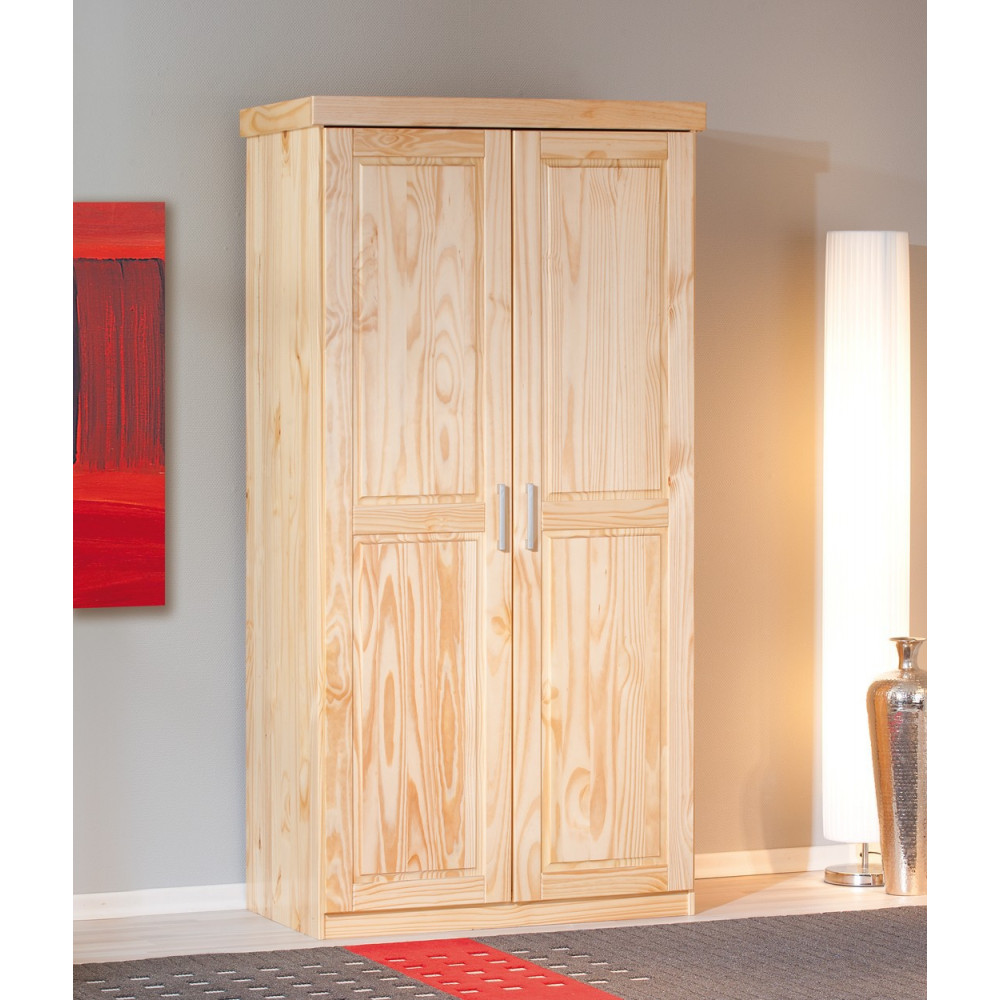 armoire leon teinte naturelle 2 portes battantes. Black Bedroom Furniture Sets. Home Design Ideas