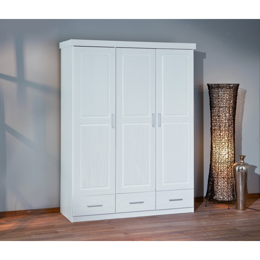 armoire julio blanche 3 portes 3 tiroirs. Black Bedroom Furniture Sets. Home Design Ideas