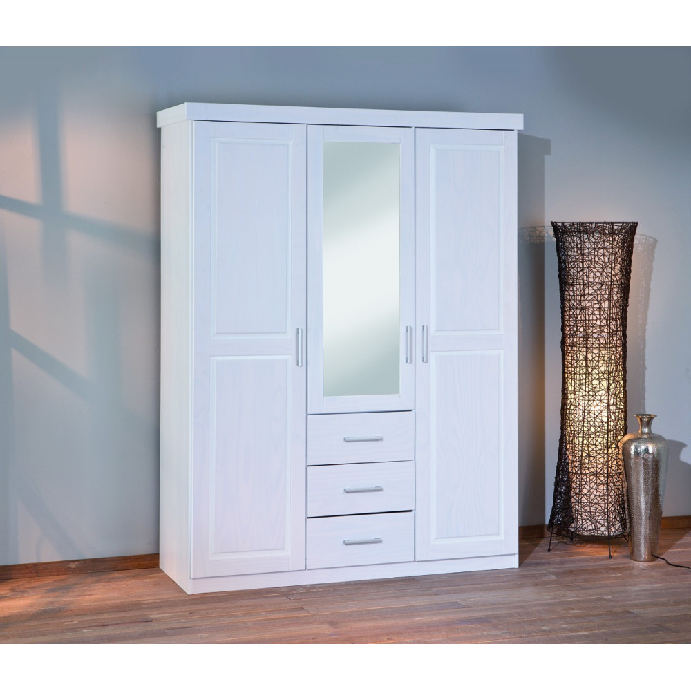 armoire geraldo blanche 3 portes 3 tiroirs. Black Bedroom Furniture Sets. Home Design Ideas