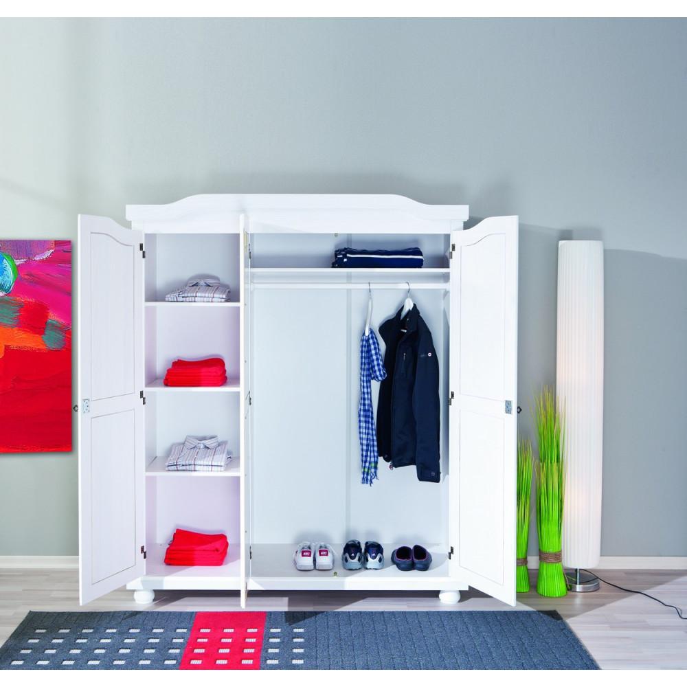 armoire bastian blanche 3 portes battantes. Black Bedroom Furniture Sets. Home Design Ideas