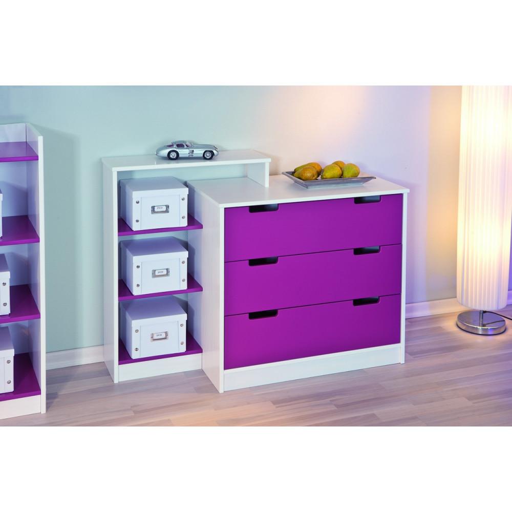 commode johanna 3 tiroirs magenta blanc. Black Bedroom Furniture Sets. Home Design Ideas