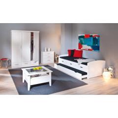 Chambre complète ULI Pin massif Blanc