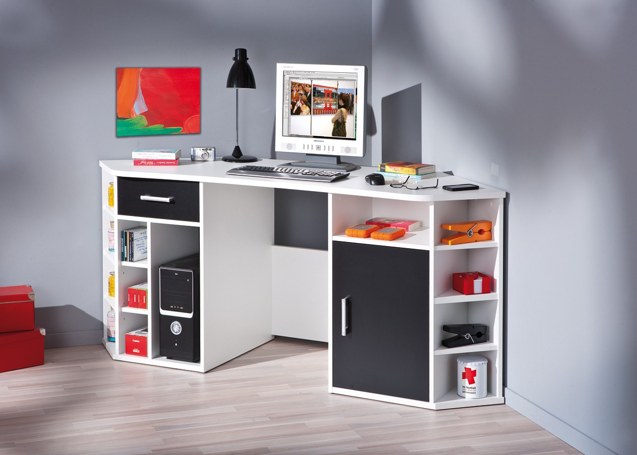 bureau d angle fabri blanc et noir. Black Bedroom Furniture Sets. Home Design Ideas