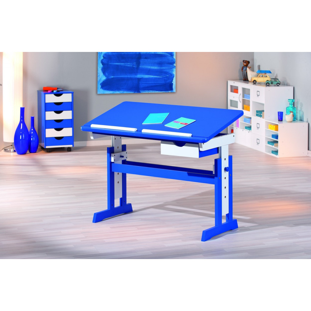 Bureau junior paco 109x55 bleu reglable for Bureau junior