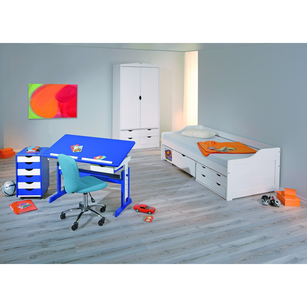 Bureau junior paco 109x55 bleu reglable for Meuble bureau junior