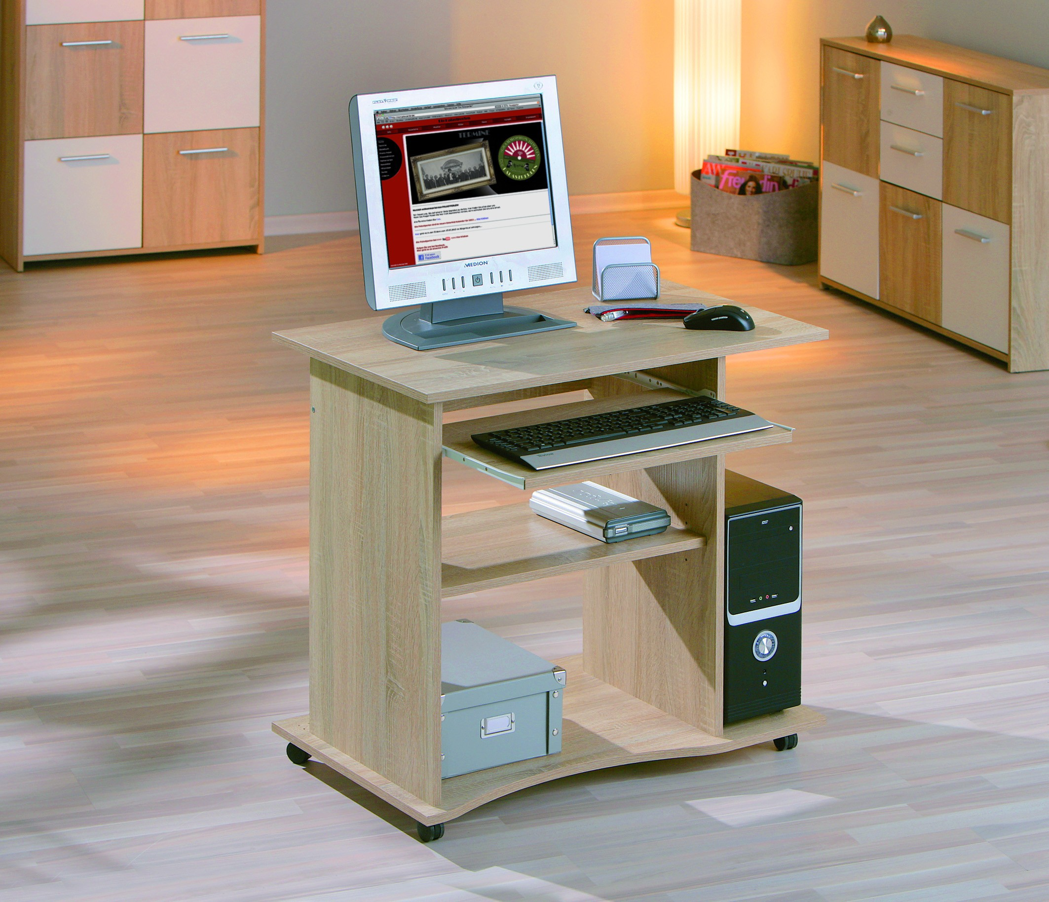 Bureau mobile durini 80x50 sonoma chene for Meuble 80x50