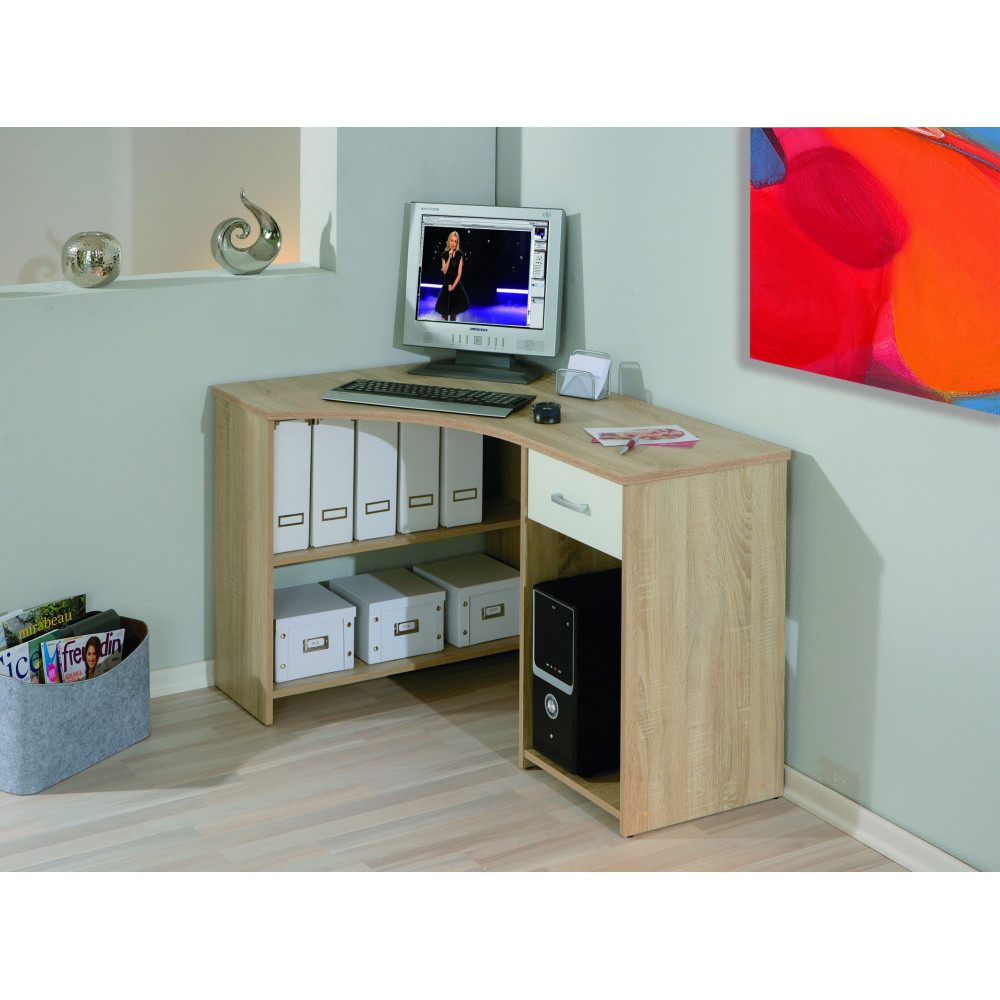 bureau d angle caprera 118 x 79 chene et blanc. Black Bedroom Furniture Sets. Home Design Ideas