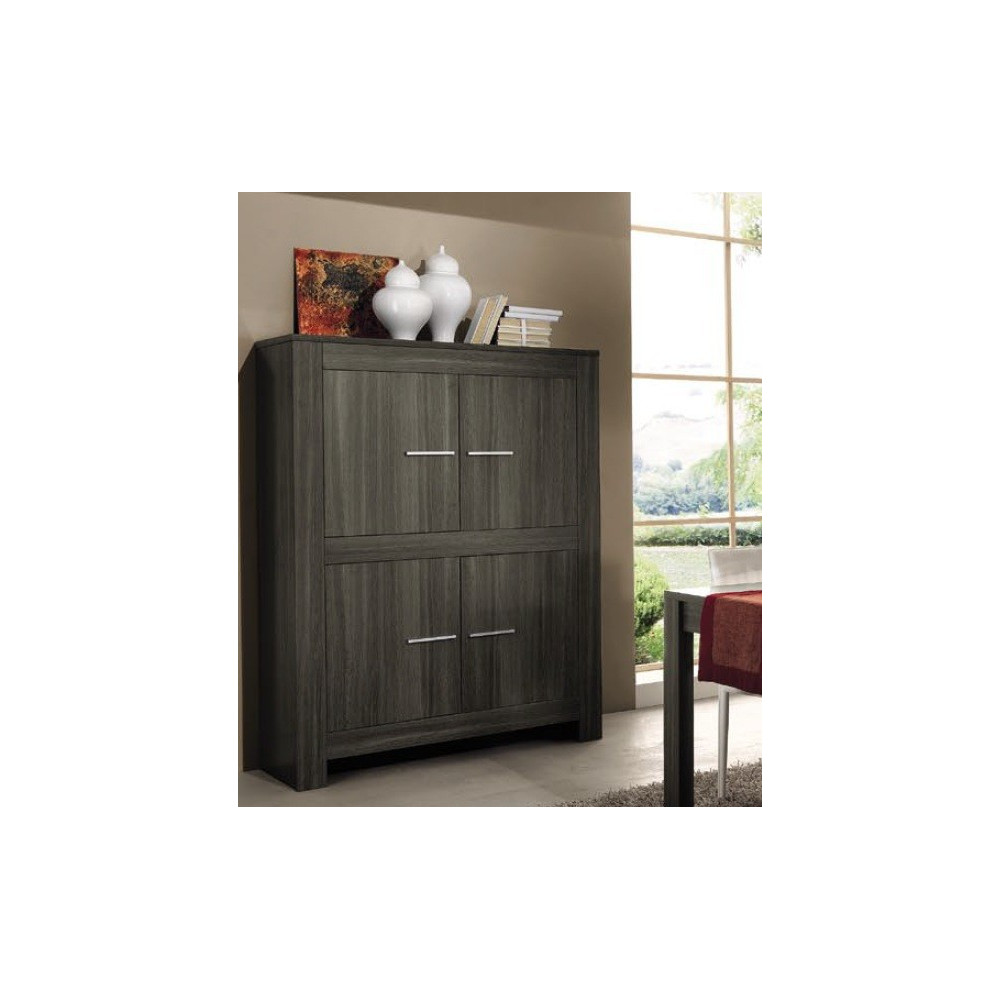 bahut haut moderne ch ne gris 4 portes 120 cm. Black Bedroom Furniture Sets. Home Design Ideas