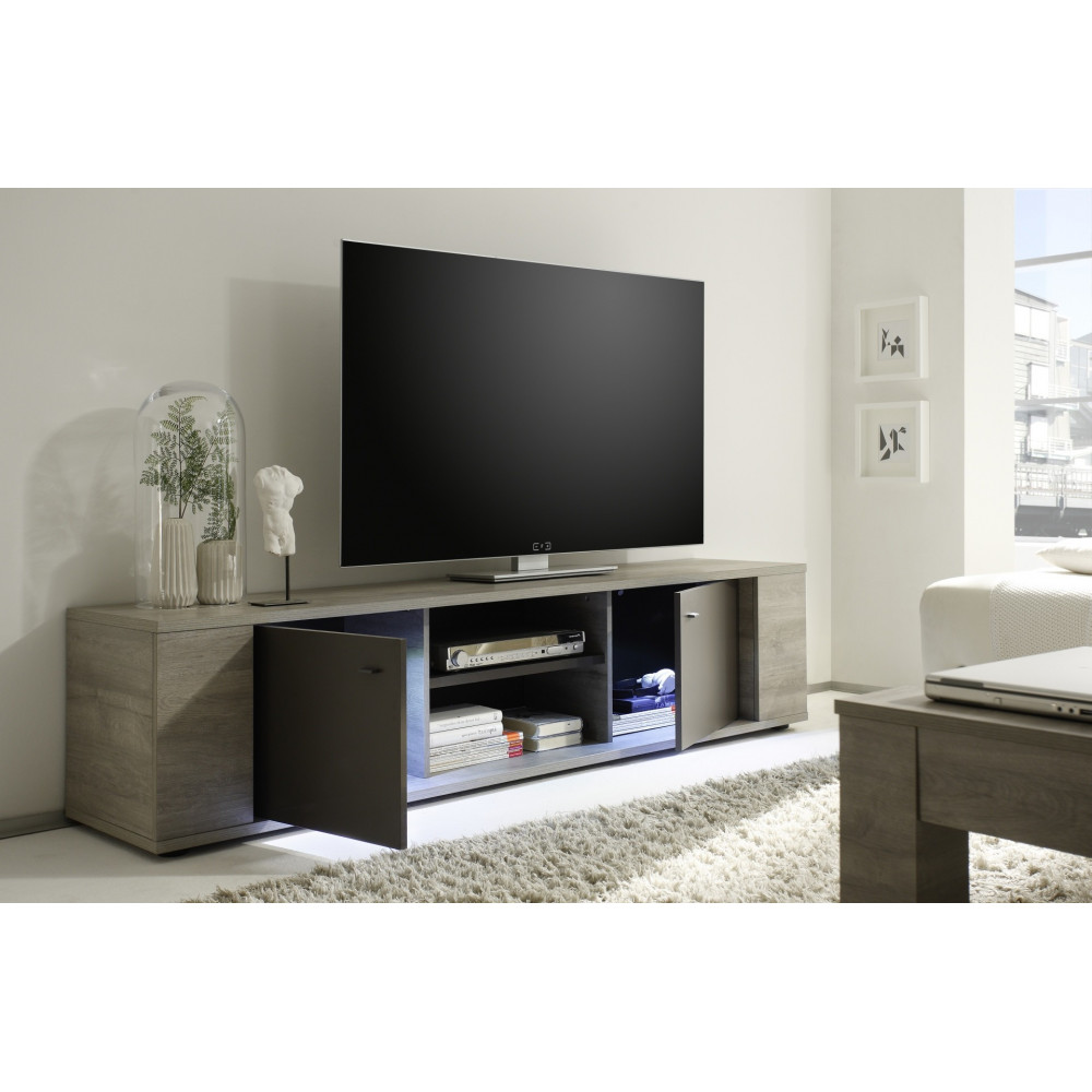 meuble tv sydney 2 portes plus 1 niche moderne bahut bicolore. Black Bedroom Furniture Sets. Home Design Ideas