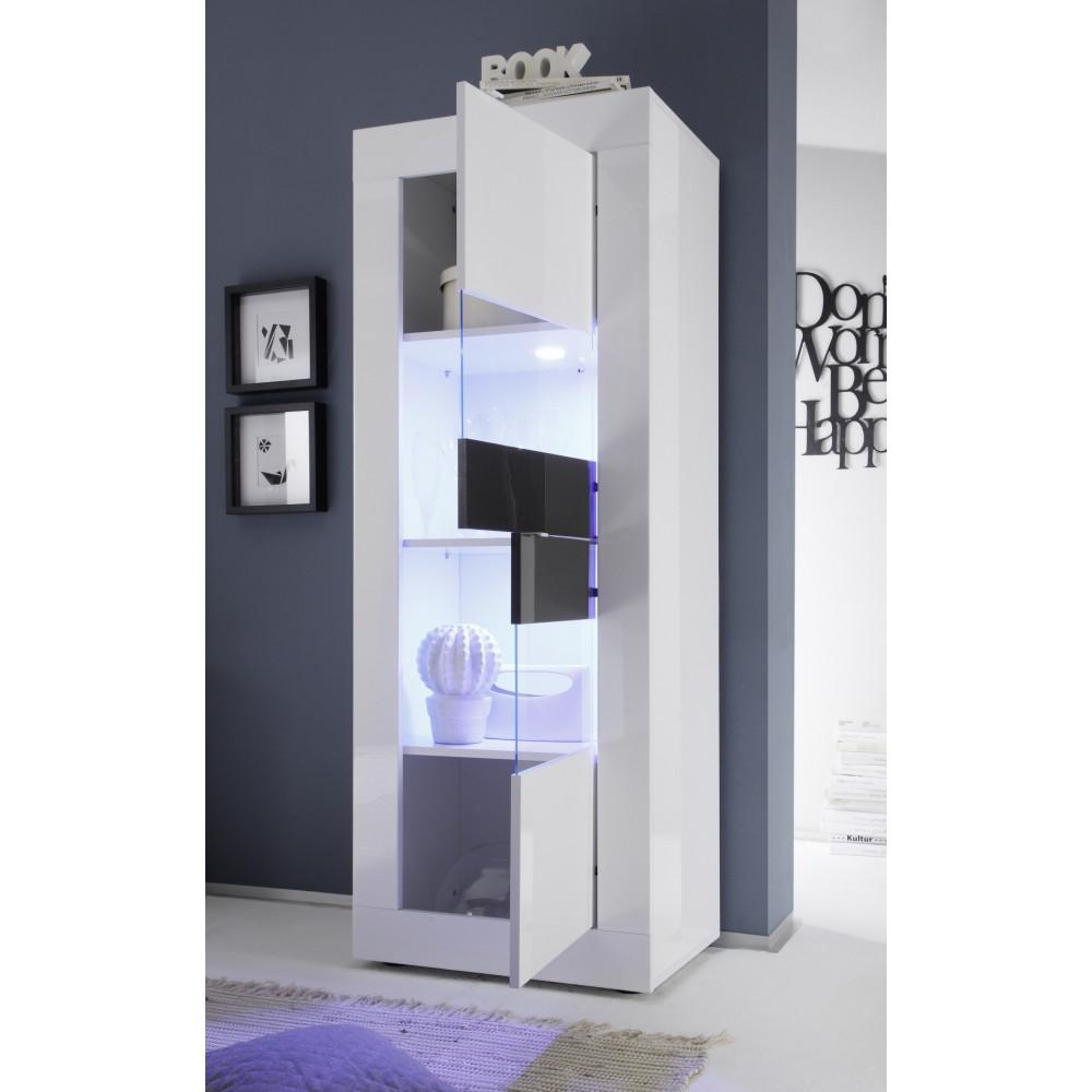 bahut haut toronto blanc et weng 2 portes vitr es. Black Bedroom Furniture Sets. Home Design Ideas