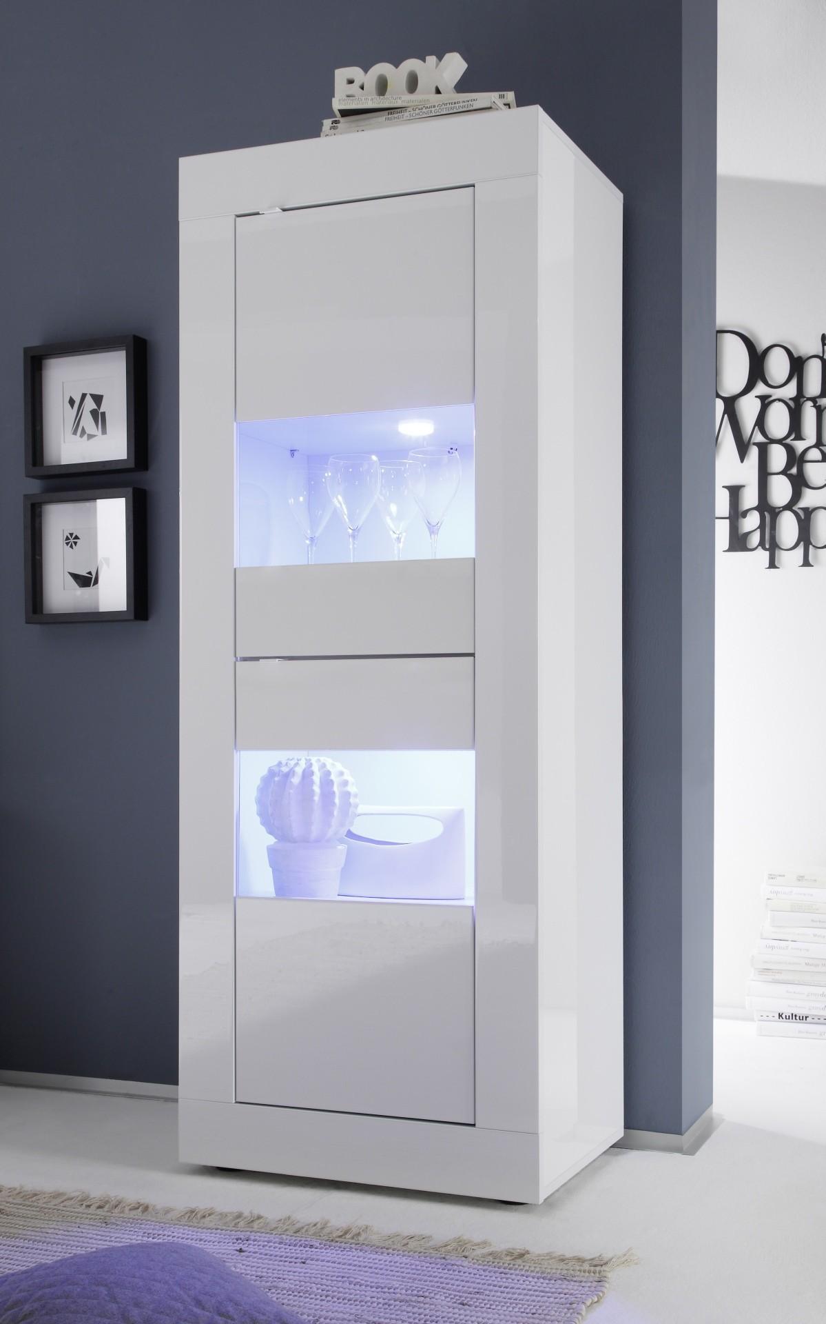 Bahut Haut Toronto Blanc 2 Portes Vitr Es # Meubles Haut Blanc Laque Pour Salon