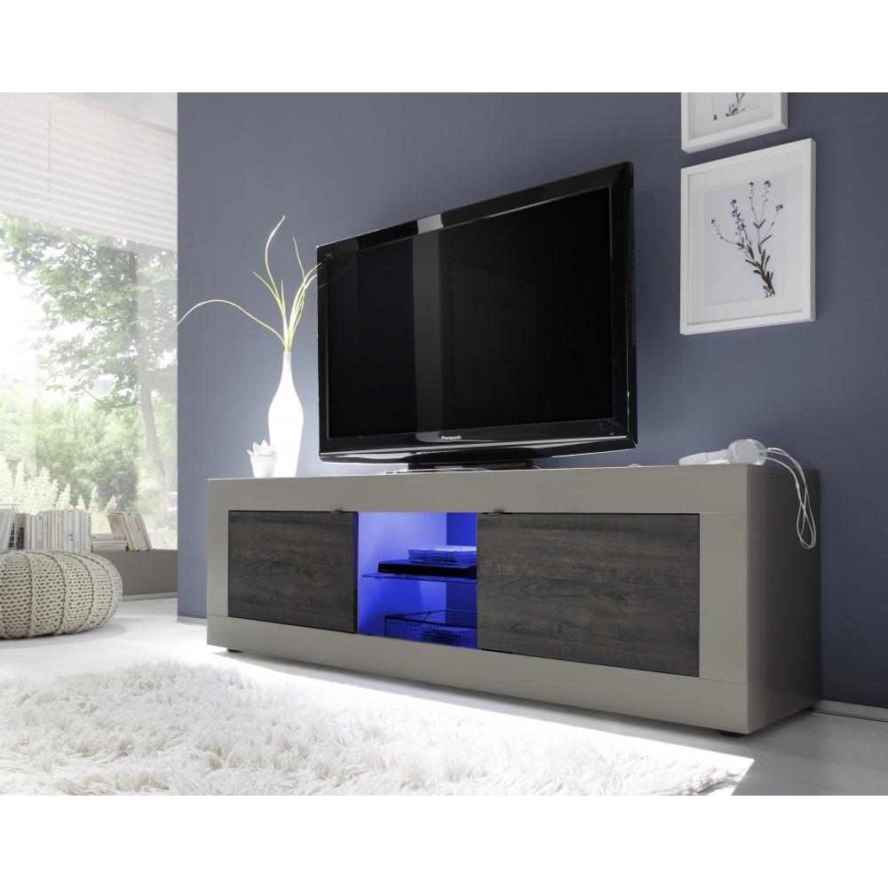 Meuble tv toronto beige et weng 2 portes 1 niche for Meuble tv beige