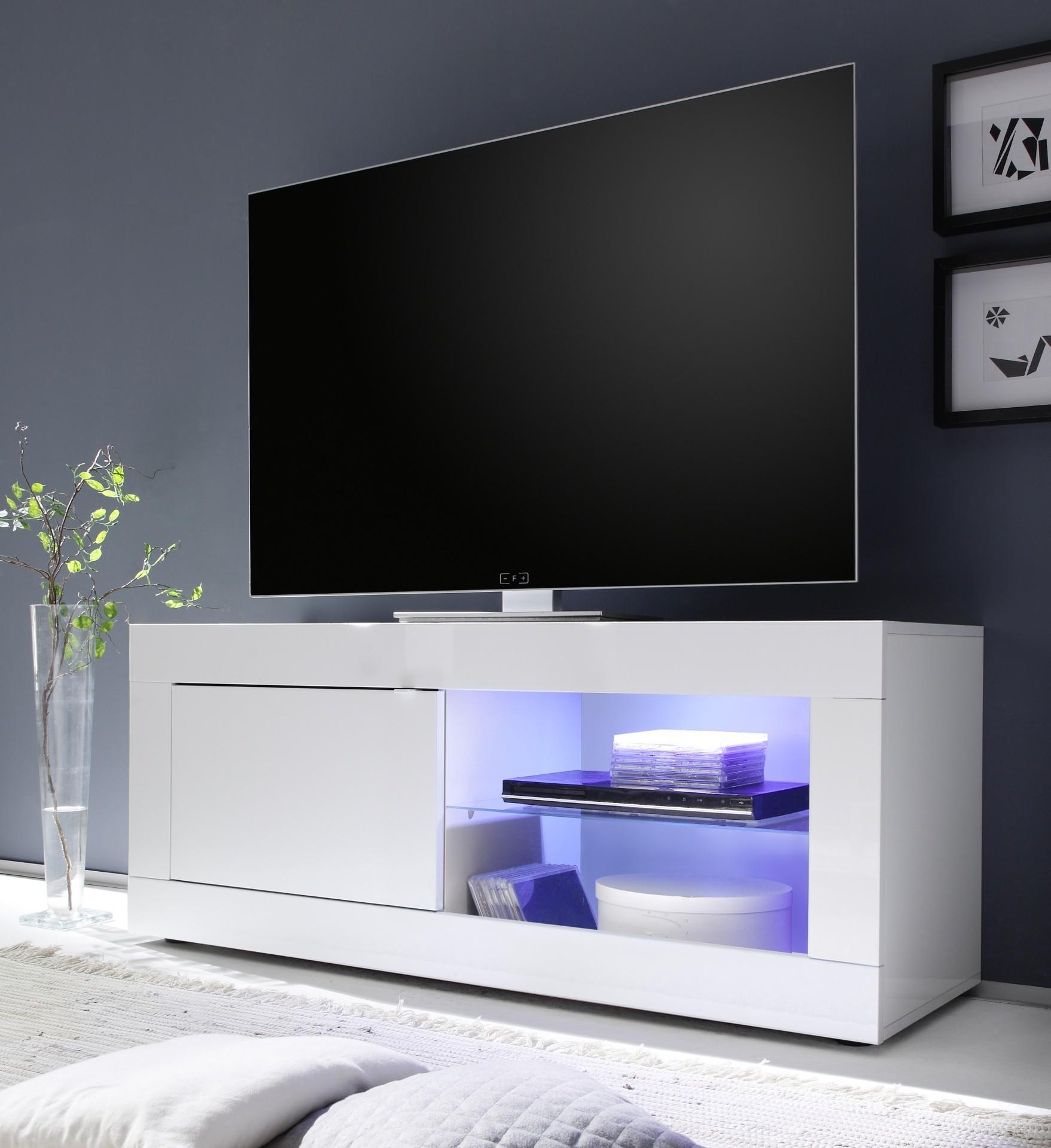 Meuble Tv Toronto Blanc 1 Porte 1 Niche Prix Discount Design Italie # Meuble Tv H Et H