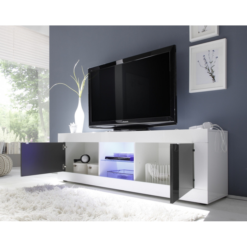 Meuble TV TORONTO Blanc et Anthracite  2 portes + 1 Niche -> Meuble Tv Blanc Long