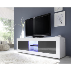 Meuble TV TORONTO long Blanc et Anthracite