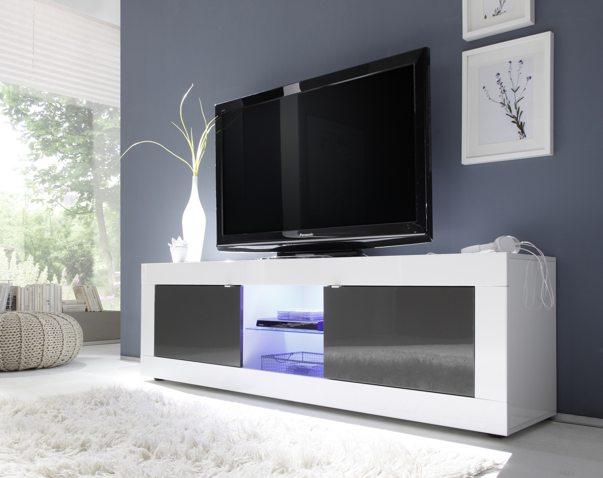Meuble Tv Toronto Blanc Et Anthracite 2 Portes 1 Niche # Meuble Tv Blanc Long