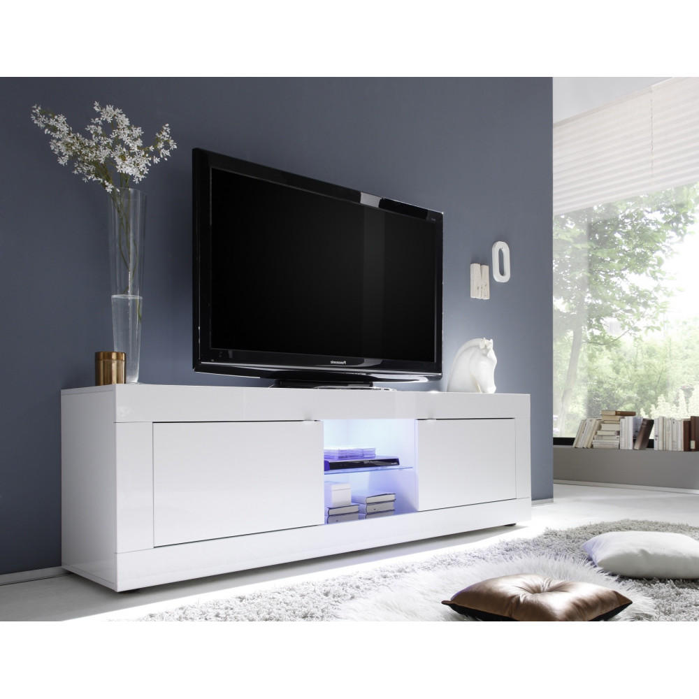 Meuble tv toronto blanc 2 portes 1 niche fabriqu en for Meuble tv long blanc