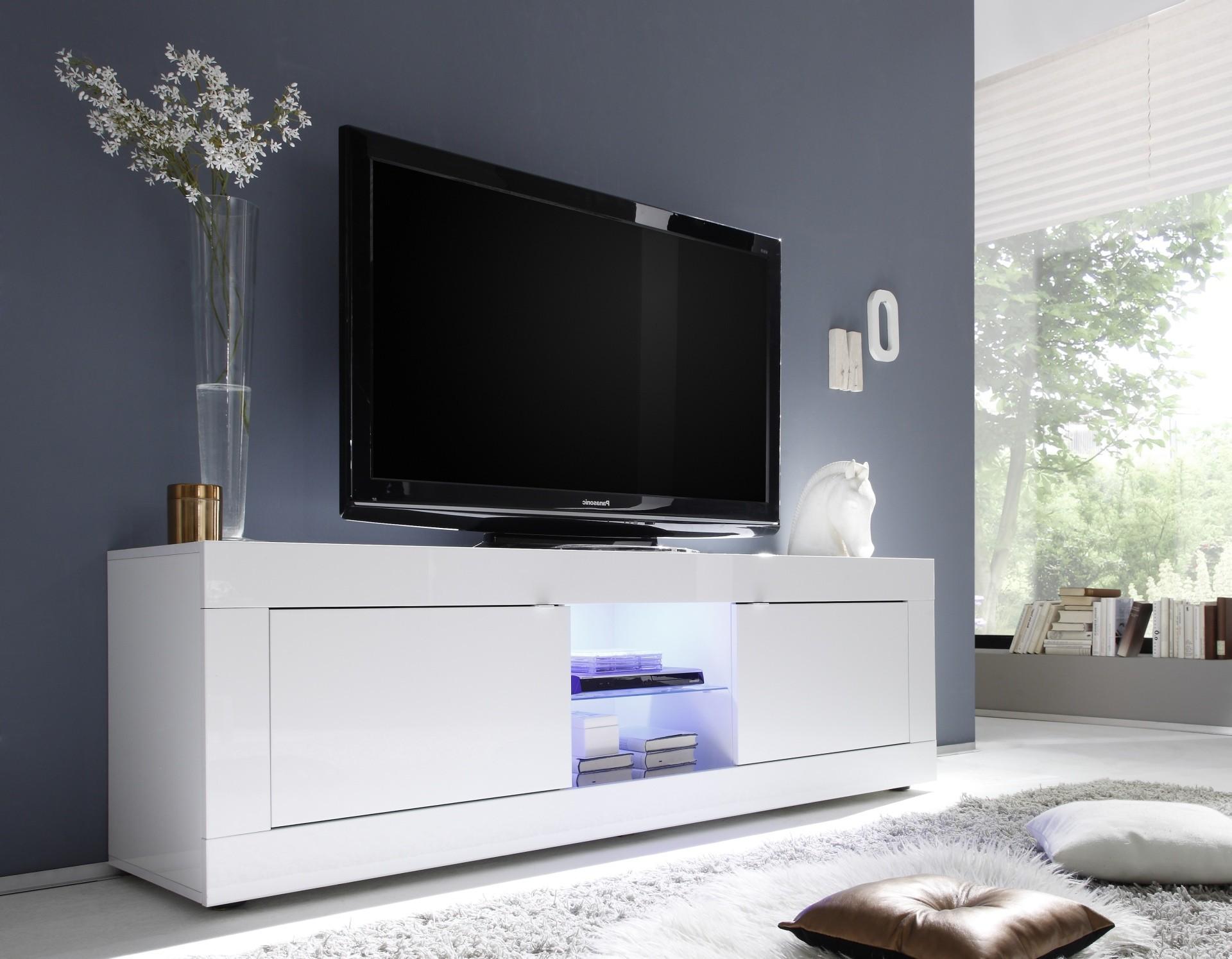Meuble Tv Toronto Blanc 2 Portes 1 Niche Fabriqu En Italie # Meuble Tv Blanc Long