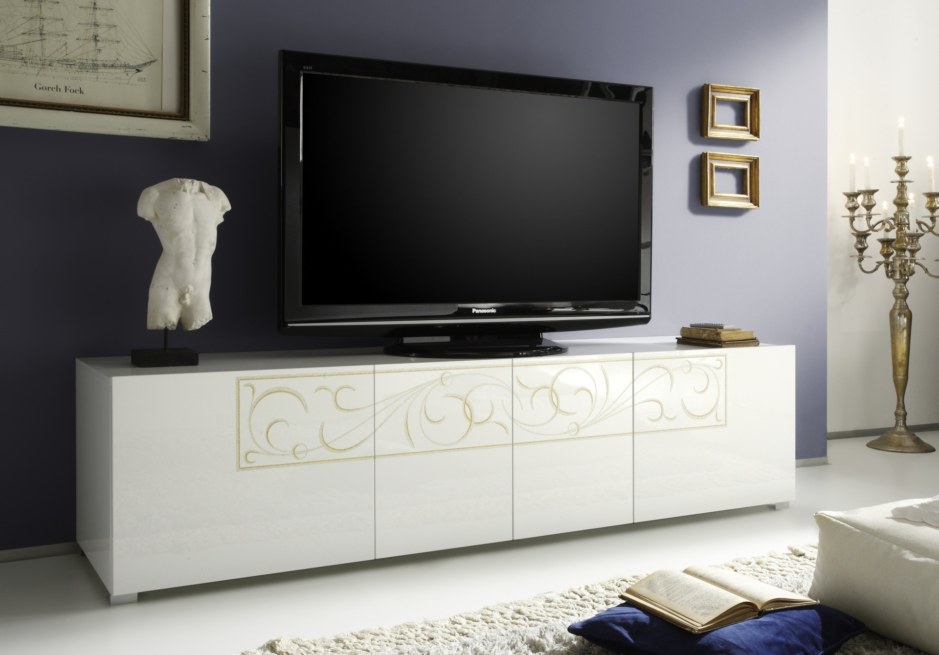 Meuble T Levision Padua Blanc Brillant Prix Discount Qualit Italienne # Meuble Tv Brillant