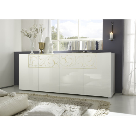 bahut bas padua blanc brillant prix discount qualit italienne. Black Bedroom Furniture Sets. Home Design Ideas