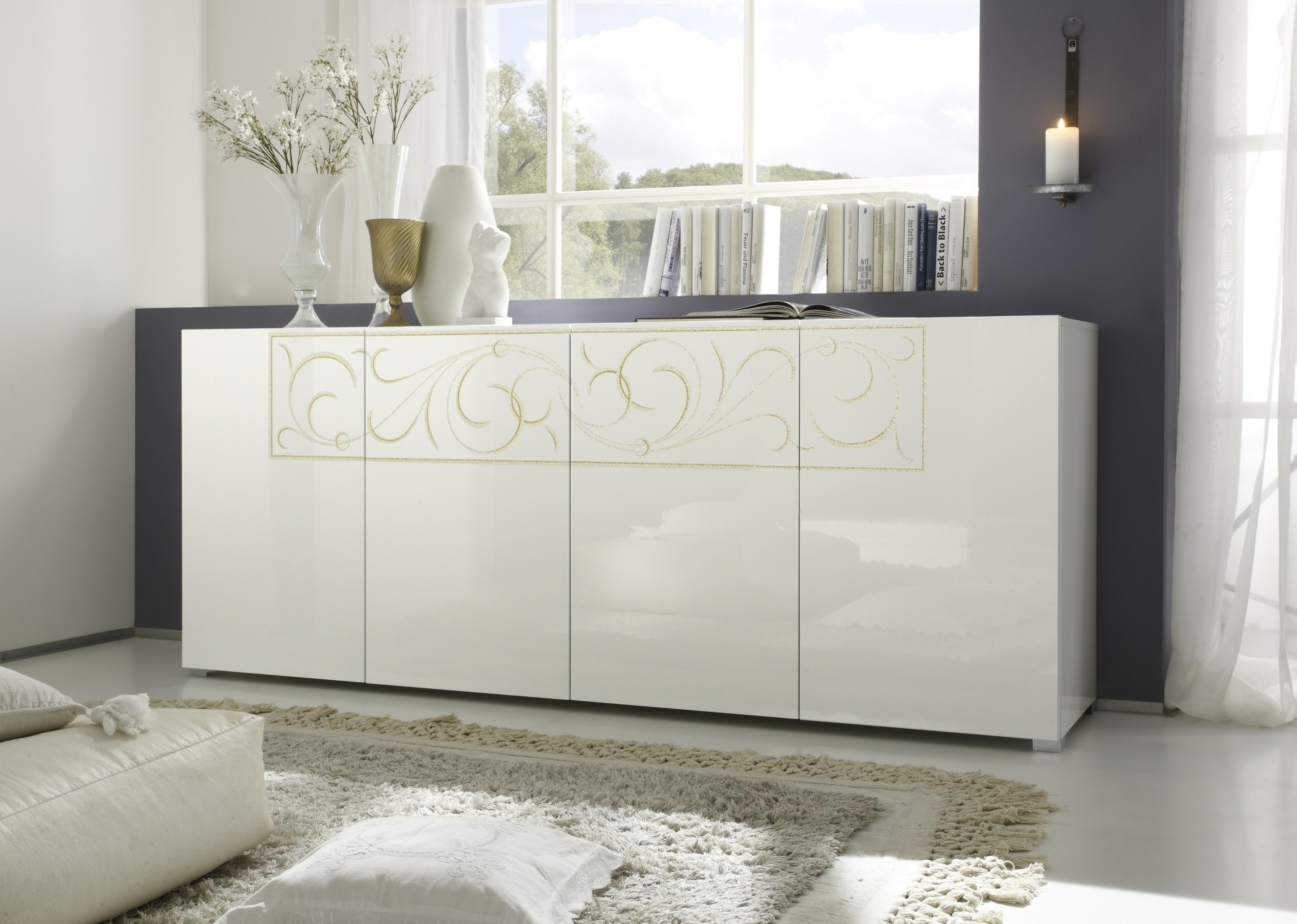 Salon meuble blanc laque for Meuble bas salon design
