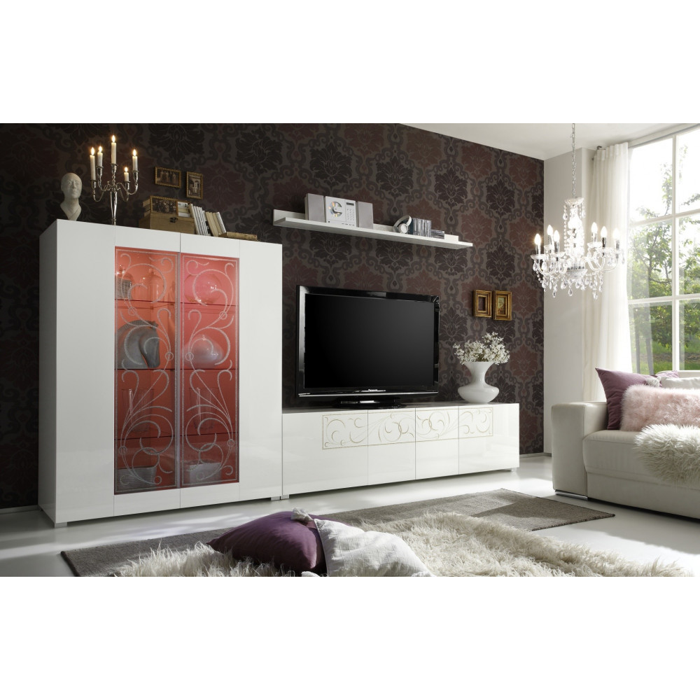 bahut haut vitrine padua blanc brillant prix discount qualit italienne. Black Bedroom Furniture Sets. Home Design Ideas